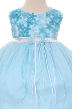 9463fee5f3b Baby Blue Cute 3D Floral Chiffon and Mesh Flower Baby Girl Dresses SKU    KD340BB Chiffon