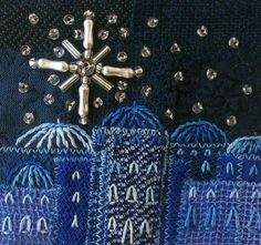 Embroidered blue Christmas card  five inch square by StitchMikki