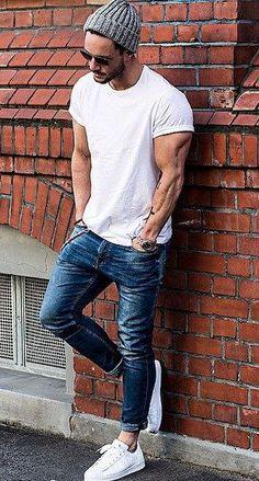 Classy look in white T-Shirt & Beanie