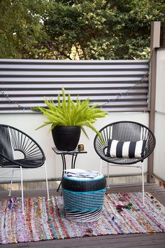 Bohemian Contemporary Patio: A small outdoor sitting area . Outdoor Living Rooms, Outdoor Spaces, Living Spaces, Outdoor Decor, Outdoor Lighting, Budget Patio, Diy Patio, Patio Ideas, Contemporary Patio