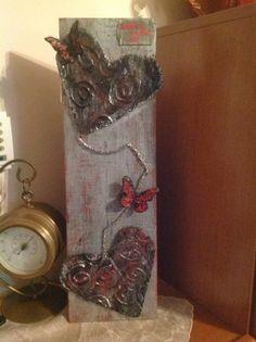 mixed media on wood Wax Art, Decorative Items, Mixed Media, Wood, Painting, Decorative Objects, Woodwind Instrument, Timber Wood, Painting Art
