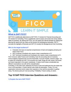 Sap Fico Interview Questions And Answers 2015 Pdf