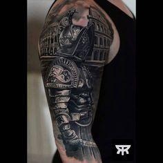 Done by resident artist @marcinsonski #gladiator #gladiatortattoo #tattooed #skincitytattoodublin #blackandgrey #tatoo #inked