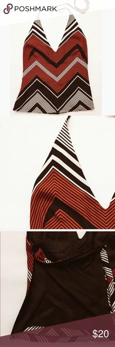 "Zara Woman Chevron Halter Top Size Medium, length approximately 25"", fabric polyester, lined, side zip. Zara Tops"