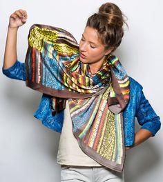 Dikla Levsky, Silk scarf, Printed multicolor scarf, Oversized scarf