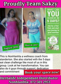 Book your space now! Who do you know that misses breakfast? Eats cereals and toast? *Join our 5 Day Eat 💚Clean* Swap your breakfast and lunch for a shake, follow our *5 HEALTHY MEAL PLAN* with Healthy meal receipes👍 ☎Whatsapp for more info! *Join our Challenge on WhatsApp from anywhere in South Africa* 💚💚💚💚💚💚💚 *Disclaimer:* No medical claims of any nature are made or intended in any of the stories submitted. The experiences of the parties concerned are their own personal experiences… Cleaning Day, Herbalife, Shake, South Africa, Meal Planning, Clean Eating, Toast, Join, Challenges