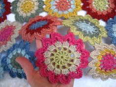 """Japanese Flower Scarf             Pattern :: taken from the Japanese book """"Motif Book Vol 4"""".    Flowers :: 46, each measuring approx 10cm across"""