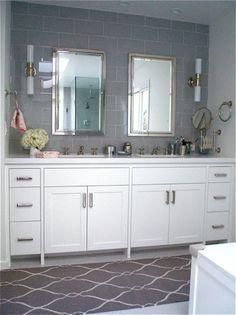 Carla Lane Interiors - Gorgeous white & gray bathroom design with gray Fallon runner from Surya (FAL-1003)