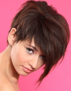 asymmetrical pixie, wish my hair was straight so I could do this :c