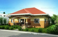 This small house design can be built in a lot having an area of sq. This design can best fit on a meters lot frontage. Smaller lots can also accommodate this design provided that the r… Small House Images, Small House Design, Modern House Design, Porch House Plans, Bedroom House Plans, Small House Plans, Bungalow Floor Plans, Modern Bungalow House, Philippines House Design