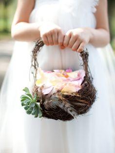 birds nest flower girl basket