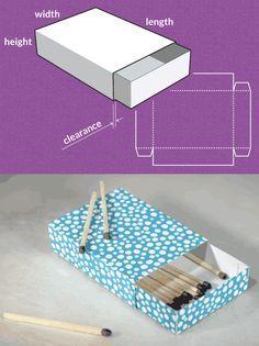 Streichholzschachtel Eine Schublade, bestehend aus einer Hülle und der Schublade selber. Die Abmessungen sind auch hier frei wählbar, sodass deiner Phantasie keine Grenzen gesetzt sind. Der Abstand zwischen Außenhülle und Schublade kann über Spielraum gewählt werden. Completely custom sized template for a Match Box