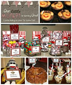 Sock Monkey Birthday Party ~ click for so many cute ideas!