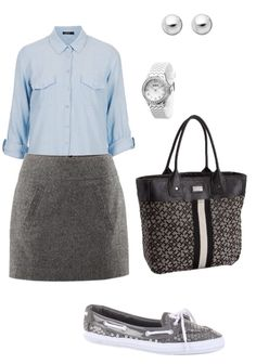 Business casual attire - spring outfit for work. Gray skirt, sequin boat shoes, pastel blue button down blouse #style #ootd