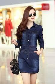 Resultado de imagen para vestidos de jean camisero