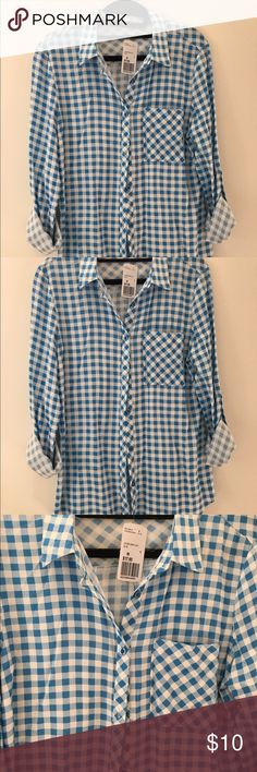 NWT Blue and white checkered shirt NWT light blue and white checkered shirt. 25 inches long. 100% rayon. Forever 21 Tops Blouses
