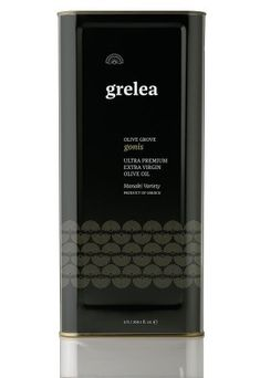 Grelea extra Virgin Olive oil from Greece. Selected by www.soilandsun.co.uk Finest and Eclectic food Elements, London,Uk Olive Oil Packaging, Food Packaging, Packaging Design, Greek Olives, Olive Oil Bottles, Name Design, Brand Names, Greece, Packing