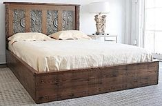 Queen Platform Bed Made from Reclaimed Wood from New Orleans Homes and Victorian Tin Ceiling Tiles Tile Bedroom, Faux Tin Tiles, Ceiling Tile Headboard, Bed, Shiplap Headboard, Decorative Tin Tile, How To Make Bed, Platform Bed, Bedroom Furniture
