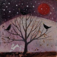 The glowing sun, winter solstice by Catherine Hyde #tree #art