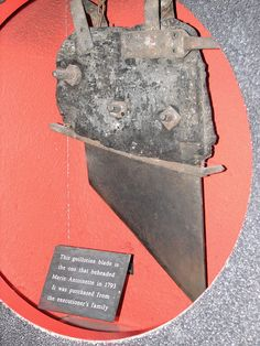 The guillotine blade that was used to behead Marie Antoinette during the French Revolution on 16 October 1793. The blade is on display at Madame Tussauds in London.