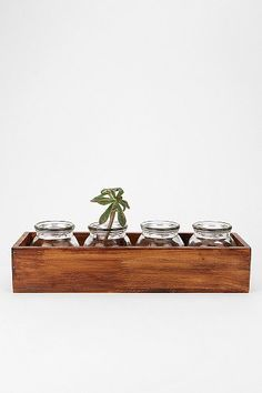 Window Box Vases from Urban Outfitters. Seems easy to turn into a DIY. Find the wood, stain it, build the box, and find appropriate jars for vases.
