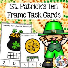This resource contains task cards with ten frames from 0 - 10. Students have to count how many shamrocks are in the ten frame and then select the correct answer out of 3 choices on the bottom of the task card.Come in color/colour and black and white option.