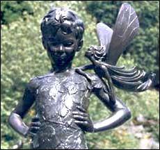 Peter Pan in Dunedin Botanic Garden, NZ. Peter Pan, Long White Cloud, Pinocchio, Botanical Gardens, Kiwi, Statues, New Zealand, Garden Sculpture, Sculptures