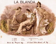 """Label for La Blanda Cigars from Litographer Louis Wagner. - Board """"Art-Seductive Women of Cigars Labels"""". Cigar Box Art, Seductive Women, Scantily Clad, Vintage Labels, Golden Age, Cigars, Art Boards, Erotic, The Outsiders"""