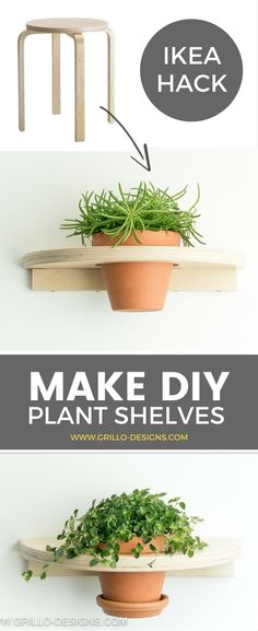 Make a DIY planter shelf from the well known FROSTA stool. If you enjoy finding fun ways to display your plants, youll love this IKEA FROSTA hack! Ikea Hacks, Hacks Diy, Decorating Your Home, Diy Home Decor, Decorating Ideas, Decor Ideas, Ikea Plants, Indoor Plants, Indoor Garden