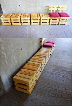 Make it use as the chair or the stools! It's all up to you! This idea of the wood pallet project for your home has been all put into the settlement of the small size of stools. The backrest portion of the stools do add a supportive sheet that act this stool to turn into the classy chair design.