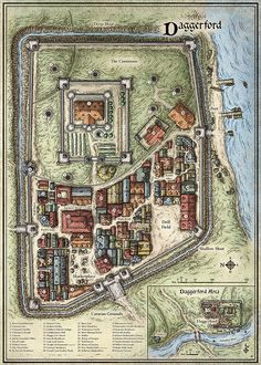 "Daggerford A top-down overview of the walled town of Daggerford. This archetypal fantasy city map was created to accompany the D&D Encounters adventure ""Scourge of the Sword Coast""."