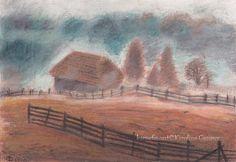 """OIl Pastel Drawing """"Misty Morning"""" by Karolina Gassner (karogfineart) #Impressionist"""