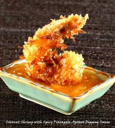 coconut shrimp with spicy pineapple apricot sauce.
