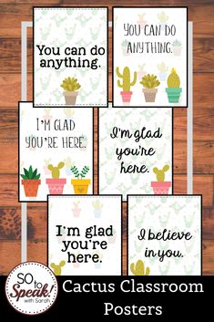 Using cactus or succulents in your classroom theme this year? Use these cute classroom posters to encourage your students! Online Classroom, Classroom Walls, New Classroom, Classroom Posters, Classroom Themes, Middle School Posters, Middle School Classroom, Middle School Art, Art School