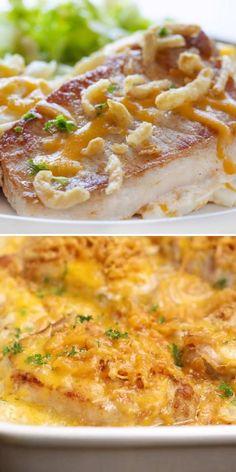 Pork Chop Casserole, Dinner Casserole Recipes, Pork Recipes For Dinner, French Fry Casserole, Mexican Food Recipes, Easy Pork Chop Recipes, Pasta Casserole, Pork Chop Dinner, Pork Chop Meals