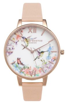 OLIVIA BURTON Olivia Burton 'Painterly Prints' Leather Strap Watch, 38mm available at #Nordstrom