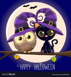 Illustration about Halloween card Black Kitten and Owl on a branch. Illustration of moon, backgrounds, black - 61503919 Cute Halloween Drawings, Halloween Rocks, Halloween Doodle, Halloween Cartoons, Halloween Clipart, Halloween Images, Halloween Prints, Halloween Stickers, Halloween 2020