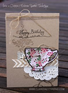 Stampin Up A Nice Cuppa and Timeless Textures stamp set used on a vintage tea cup birthday card (click for full instructions) by Claire Daly Stampin' Up! Demonstrator Melbourne Australia