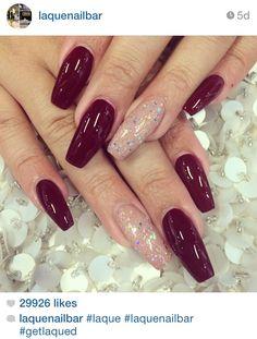 dark maroon nude glitter accent nail