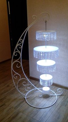A chandelier floor lamp? Now that's something new A chandelier floor lamp? Wedding Stage Decorations, Wedding Centerpieces, Metal Wedding Arch, Chandelier Floor Lamp, Wrought Iron Decor, Cake And Cupcake Stand, Wedding Cake Stands, Cake Decorating Techniques, Wedding Cake Designs