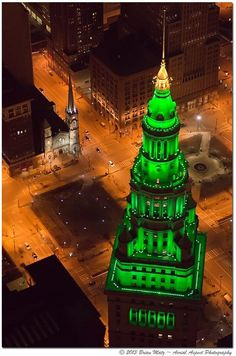 """""""@BeThePlus Hope everyone had a great #stpatricksday! Check out this great shot of downtown #CLE! @AerialAspect"""""""