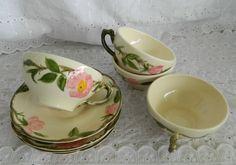 4 Franciscan Earthenware Gladding McBean Desert Rose Flat Cup & Saucer Sets 8 Pc
