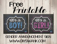 Free Printable Gender Reveal Photo Sign. Great way to announce the sex of your baby.