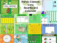 This 21 page SMARTBoard calendar is all you'll need to begin each day of March with a rigorous yet engaging start. It is aligned with CCSS ELA and NBT, Geometry, Data and Measurement and Operations standards. This product includes a calendar, months of the year page, odd/even days of the month, days of school page, place value days in school, money count,  modify-able sight word page, nonsense word fluency, cut out number grid puzzle, fact families, spin, tally and graph page, weather graph, ...