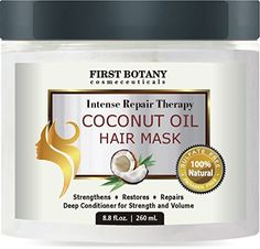 Coconut Oil Hair Mask, 8.8 fl. oz. Restorative Hair Mask, Deep Conditioner for Damaged & Dry Hair, Heals & Restructures Hair Shaft & Growth, Nourishes Scalp, Removes Residue Buildup ..Sulfate Free
