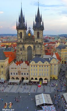 Views of Tyn Church from the Old Town Hall Tower. On our list of the 50 Things to Do in Prague: http://bbqboy.net/50-things-prague/ #prague #czechrepublic