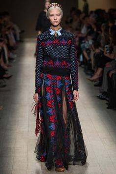 Valentino Spring 2014 RTW. #Valentino #Spring2014 #PFW mesh lace. mesh sweater. island colors. baby blue. neck bow. maxi skirt. sheer.