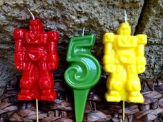 Robot birthday candles set of 3 for 6.00 by BabyBearCandles