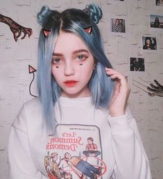 Preferred Hair Blue Long Straight Wig of Human Hair with Baby Hair Brazilian Ombre Lace Front Wig for Women Cute Makeup, Makeup Looks, Hair Makeup, Pelo Multicolor, Festival Make Up, Aesthetic Hair, Makeup Aesthetic, Blue Aesthetic, Grunge Goth