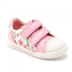 Flexy-Soft Milan Pink/Floral Leather Girls Riptape Casual Shoes - Girls Shoes